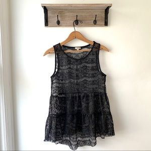 3/$20 Nordstrom Sheer Lace Tank Top Black